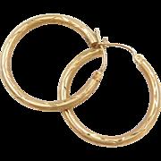Vintage 14k Gold Diamond Cut Hoop Earrings