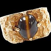 Vintage 14k Gold Men's Nugget Tigers Eye Ring