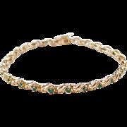 """Vintage 14k Gold Emerald Bracelet ~ 7"""""""