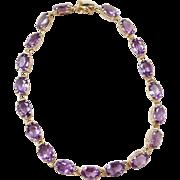 """Vintage 14k Gold Amethyst Bracelet ~ 7 1/4"""""""