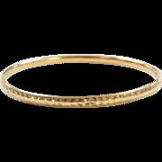 "Vintage 14k Gold Diamond Cut Hinged Bangle Bracelet ~ 7"""