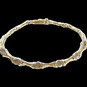"""Vintage 14k Gold Two-Tone Bracelet ~ 7 1/2"""""""