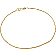 "Vintage 14k Gold Flat Box Bracelet ~ 7 1/4"""