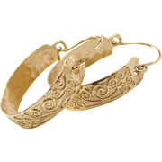 Vintage 14k Gold Swirl Hoop Earrings