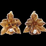 Vintage 18k Gold Freshwater Pearl Flower Earrings