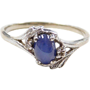 Vintage 14k White Gold Star Sapphire and Diamond Ring