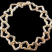 """Vintage 14k Gold Heart Link Bracelet ~ 7"""""""