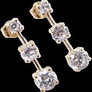 Vintage 14k Gold Faux Diamond Earrings