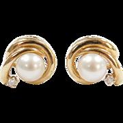 Vintage 14k Gold Cultured Pearl and Diamond Stud Earrings