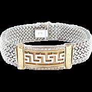 "Vintage 14k Gold Wide Two-Tone Diamond Greek Key Bracelet ~ 7 3/8"""