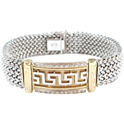Vintage 14k Gold Wide Two-Tone Diamond Greek Key Bracelet ~ 7 3/8""