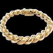 """Vintage 14k Gold San Marco / Macaroni Bracelet ~ Textured and Polished ~ 7 1/4"""""""
