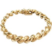 Vintage 14k Gold San Marco / Macaroni Bracelet ~ Textured and Polished ~ 7 1/4""