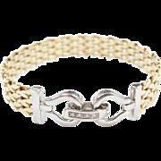 "Vintage 14k Gold Two-Tone Diamond Bracelet ~ 7 1/4"""