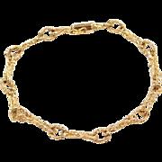 """Vintage 14k Gold Nugget Link Bracelet ~ 8"""""""