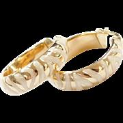 Vintage 14k Gold Hoop Earrings with Off White Glitter Enamel