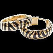 Vintage 14k Gold Hoop Earrings with Black Enamel