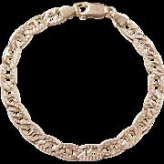 """Vintage 14k Gold Reversible Flat Marine Anchor Link Bracelet ~ 7"""""""