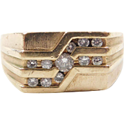 Vintage 14k Gold Gents Diamond Ring