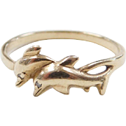 Vintage 10k Gold Dolphin Ring with Diamond Eyes