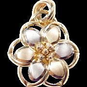 Vintage 14k Gold Two-Tone Flower Pendant