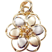 Vintage 14k Gold Two-Tone Flower Pendant