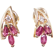 Vintage 14k Gold Ruby and Diamond Earrings
