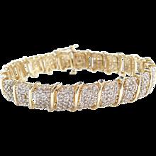 "Vintage 10k Gold 4.95 ctw Diamond Bracelet ~ 7 1/4"""