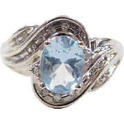 Vintage 10k White Gold Light Blue Glass and Diamond Ring