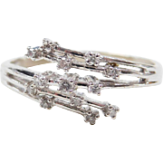 Vintage 10k White Gold Diamond Bypass Ring