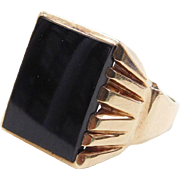 Vintage 10k Gold Onyx Ring