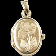 Vintage 14k Gold Etched Flower Heart Locket
