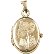 Vintage 14k Gold Etched Flower Heart Locket