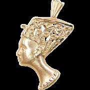 Vintage 14k Gold Nefertiti Pendant / Charm