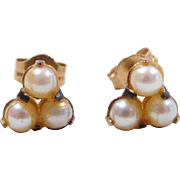 Vintage 14k Gold Cultured Pearl Stud Earrings