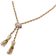 Vintage 14k Gold Diamond Lariat Tassel Necklace ~ 18""