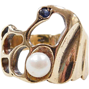 Vintage 14k Gold Cultured Pearl and Sapphire Ring
