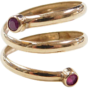 Vintage 14k Gold Ruby Bypass Ring
