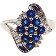 Vintage 14k White Gold Sapphire and Diamond Ring