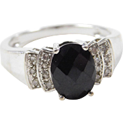 Vintage 10k White Gold Onyx and Diamond Ring