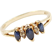 Vintage 10k Gold Sapphire and Diamond Ring