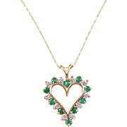 Vintage 10k Gold Two-Tone Natural Emerald and Diamond Heart Necklace ~ 18""