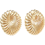 Vintage 14k Gold Big Oval Stud Earrings