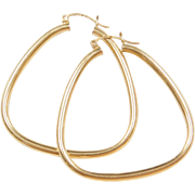 Vintage 14k Gold Big Funky Hoop Earrings