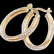 Vintage 14k Gold Two-Tone Oval Hoop Earrings