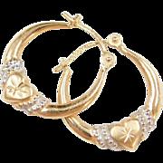 Vintage 14k Gold Two-Tone Heart Hoop Earrings