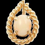 Vintage 14k Gold Angel Skin Coral Pendant