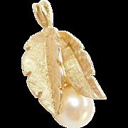 Vintage 14k Gold Cultured Pearl Leaf Pendant