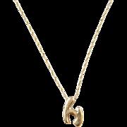 """Vintage 14k Gold Letter H Necklace  ~ 22"""""""