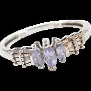 Vintage 10k White Gold Iolite and Diamond Ring